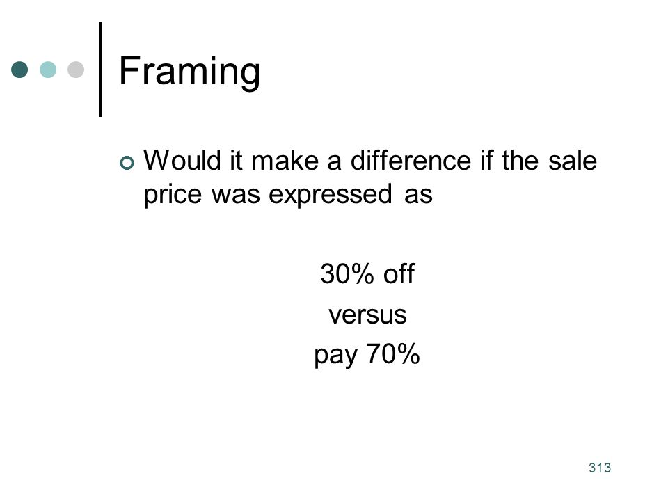 313 Framing Would it make a difference if the sale price was expressed as 30% off versus pay 70%
