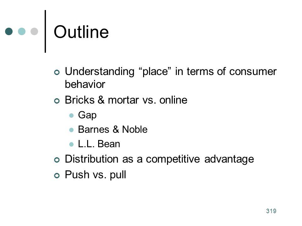 319 Outline Understanding place in terms of consumer behavior Bricks & mortar vs.