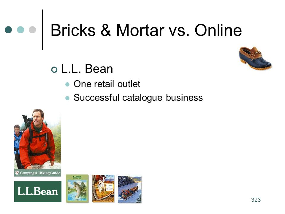 323 Bricks & Mortar vs. Online L.L. Bean One retail outlet Successful catalogue business