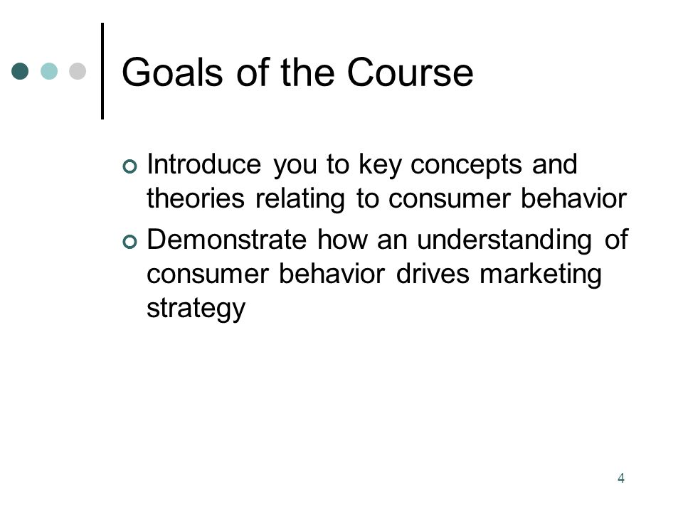 4 Goals of the Course Introduce you to key concepts and theories relating to consumer behavior Demonstrate how an understanding of consumer behavior drives marketing strategy
