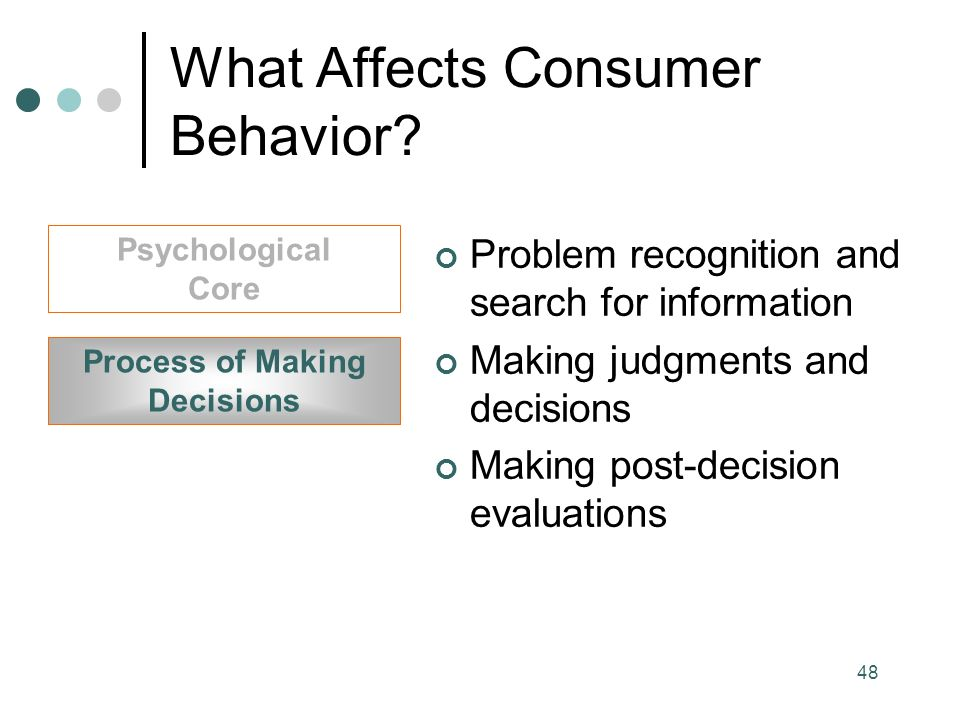 48 Process of Making Decisions Psychological Core Problem recognition and search for information Making judgments and decisions Making post-decision evaluations What Affects Consumer Behavior
