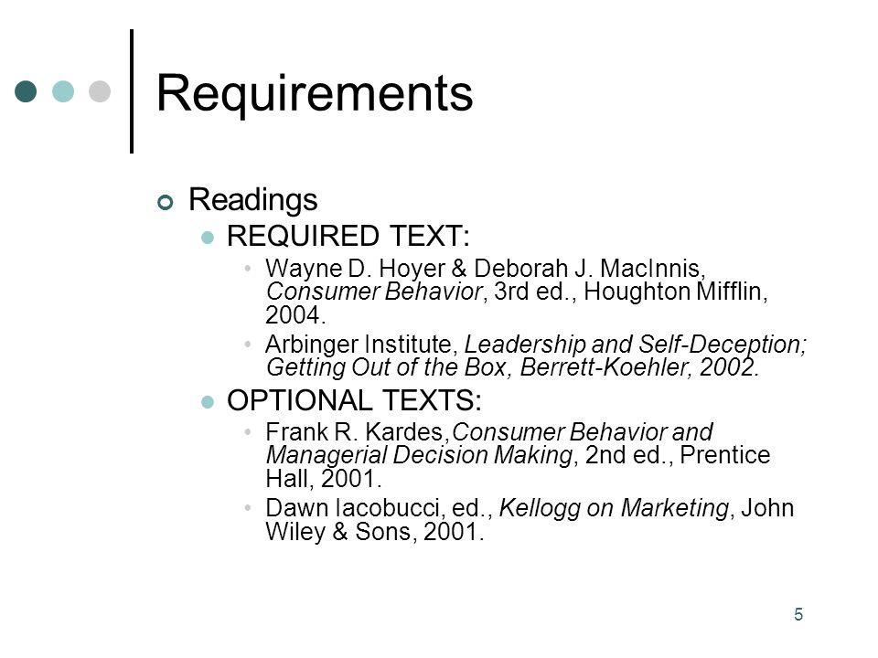 5 Requirements Readings REQUIRED TEXT: Wayne D. Hoyer & Deborah J.