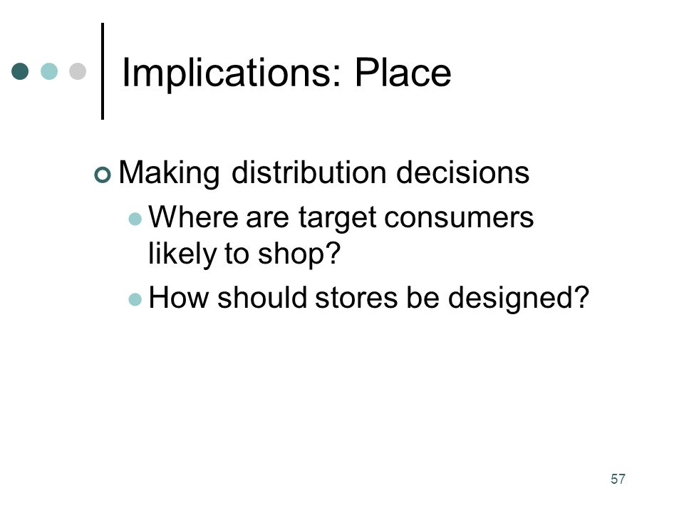 57 Making distribution decisions Where are target consumers likely to shop.