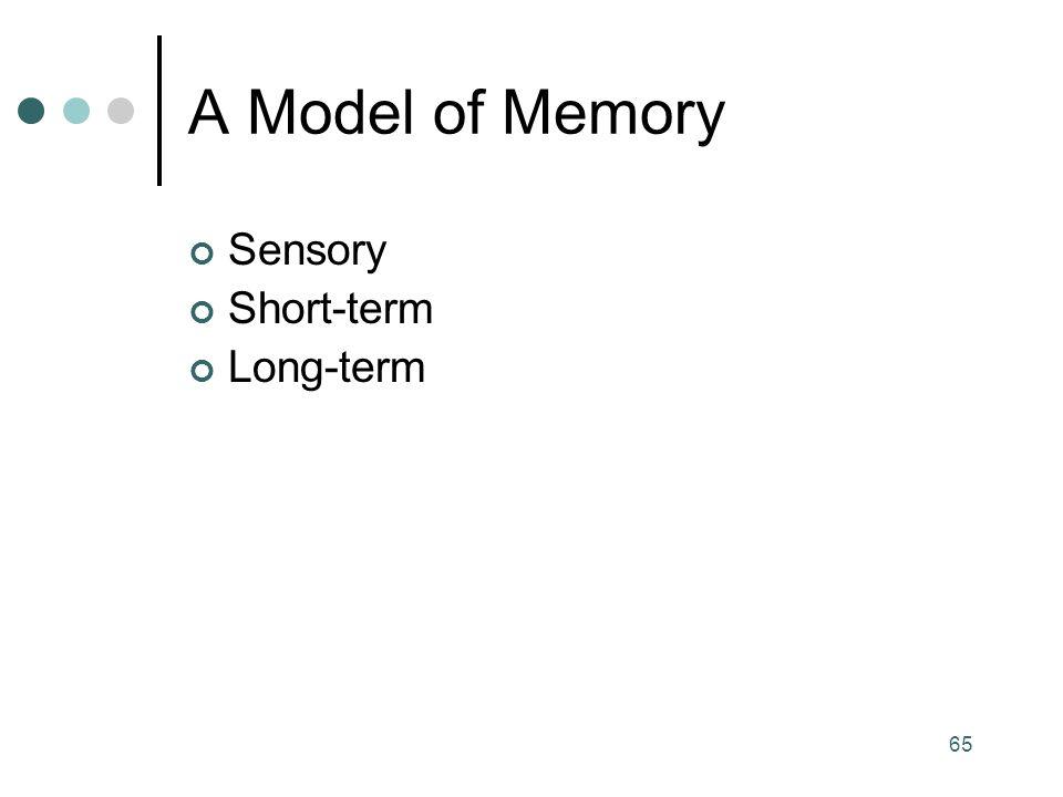 65 A Model of Memory Sensory Short-term Long-term