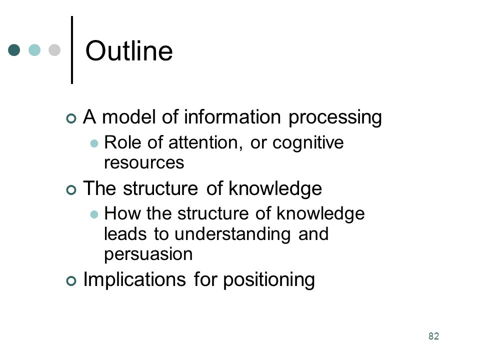 82 A model of information processing Role of attention, or cognitive resources The structure of knowledge How the structure of knowledge leads to understanding and persuasion Implications for positioning Outline
