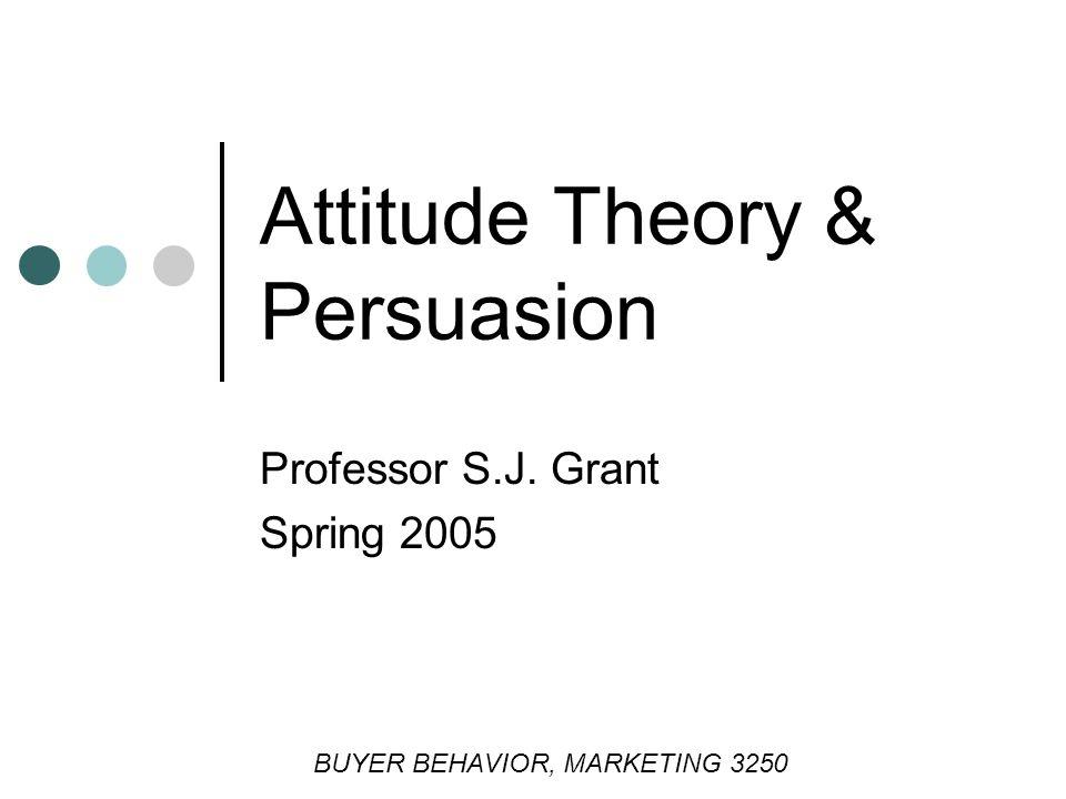 Professor S.J. Grant Spring 2005 Attitude Theory & Persuasion BUYER BEHAVIOR, MARKETING 3250
