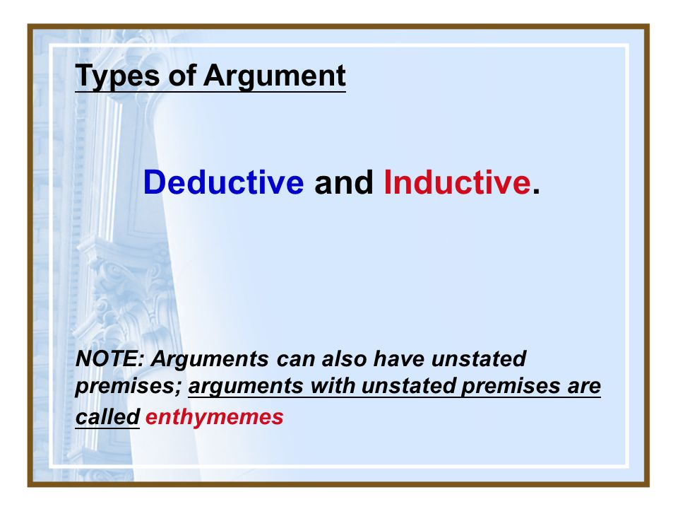 inductive and deductive agruments Deductive definition, based on deduction from accepted premises, as in deductive argument deductive reasoning see more.