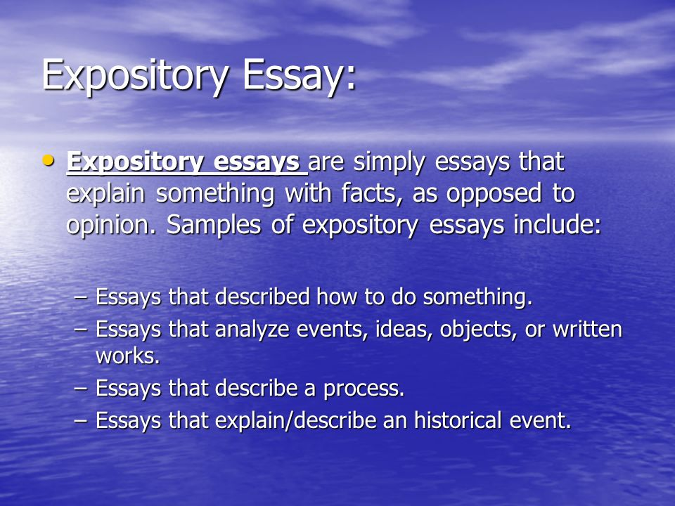 Samples Of Expository Essay
