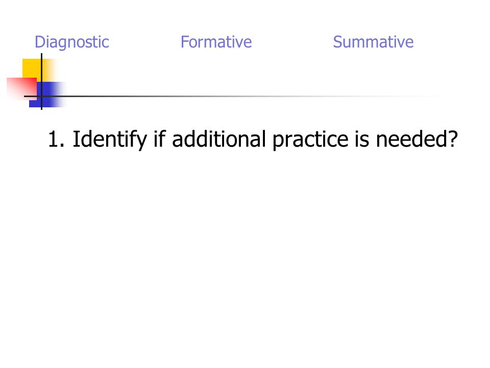 1. Identify if additional practice is needed Diagnostic Formative Summative