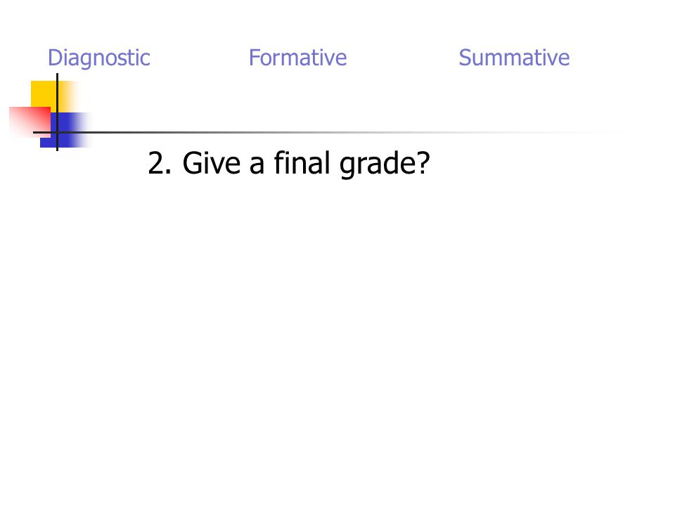 2. Give a final grade? Diagnostic Formative Summative
