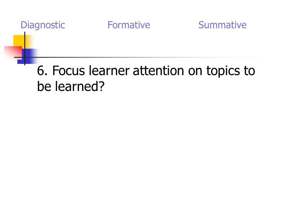 6. Focus learner attention on topics to be learned Diagnostic Formative Summative