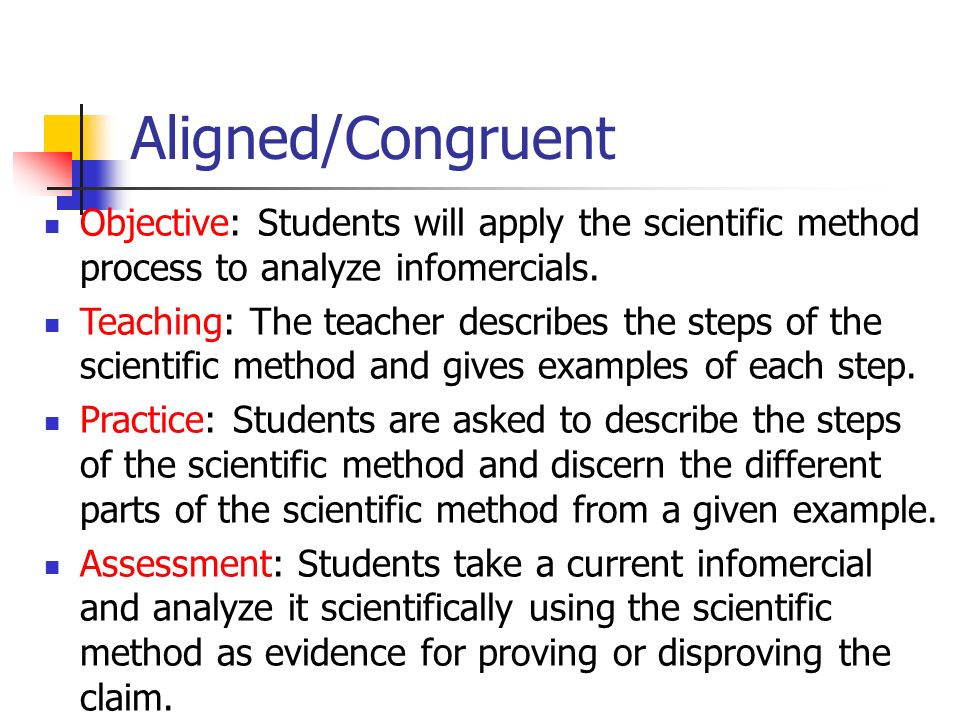 Aligned/Congruent Objective: Students will apply the scientific method process to analyze infomercials.