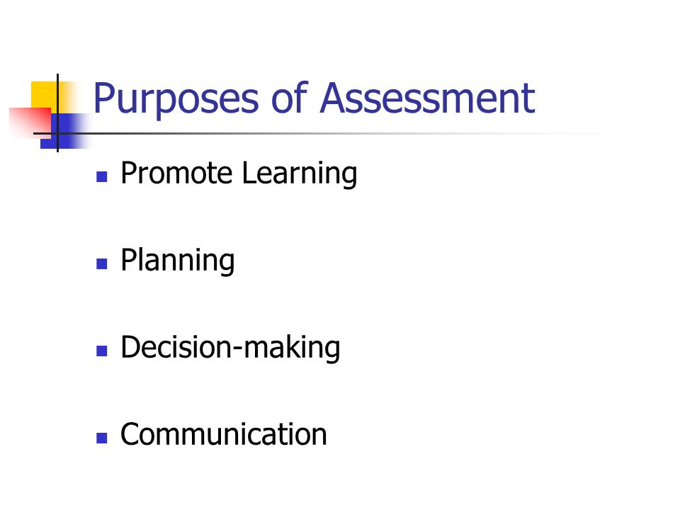 Purposes of Assessment Promote Learning Planning Decision-making Communication