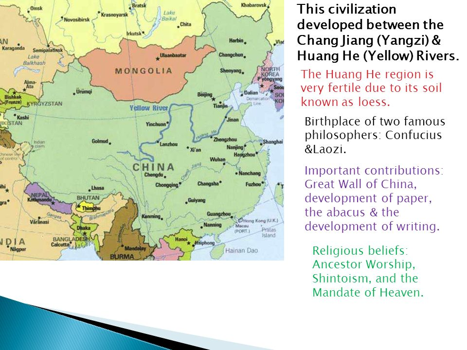 The four river valley civilizations are called the cradle of this civilization developed between the chang jiang yangzi huang he yellow sciox Choice Image