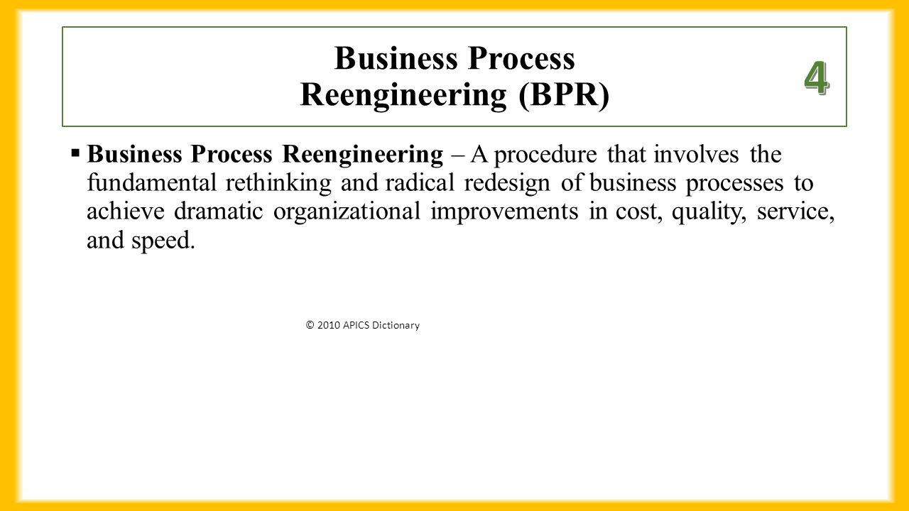 business process redesign or reengineering Business process re-engineering or bpr is the analysis and redesign of workflow and processes within and between organizations.