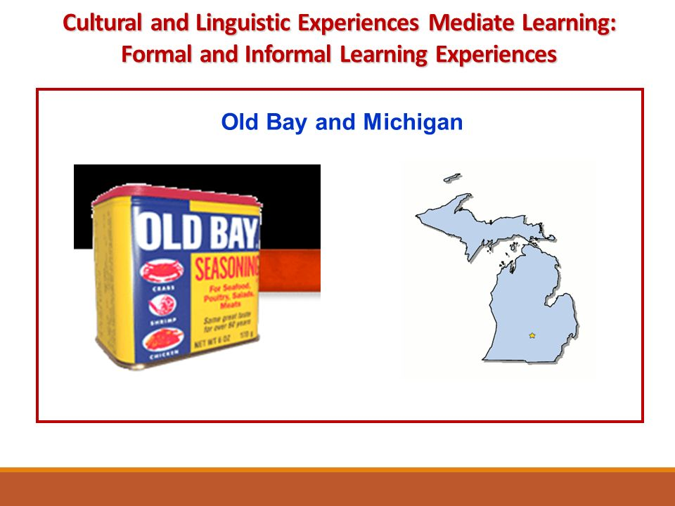 Old Bay and Michigan Cultural and Linguistic Experiences Mediate Learning: Formal and Informal Learning Experiences
