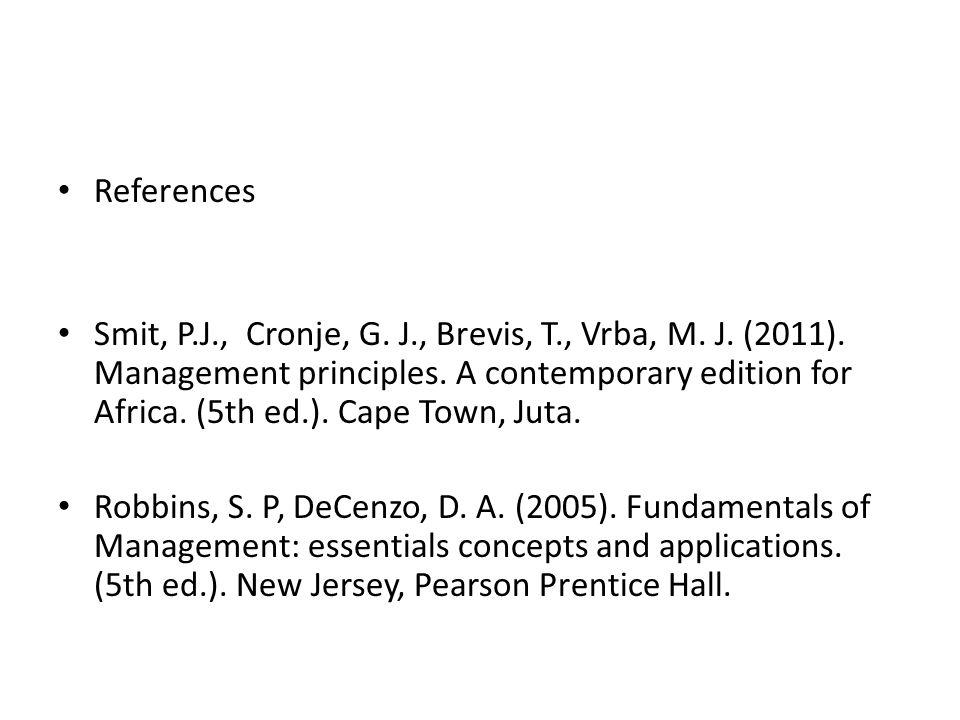 References Smit, P.J., Cronje, G. J., Brevis, T., Vrba, M.