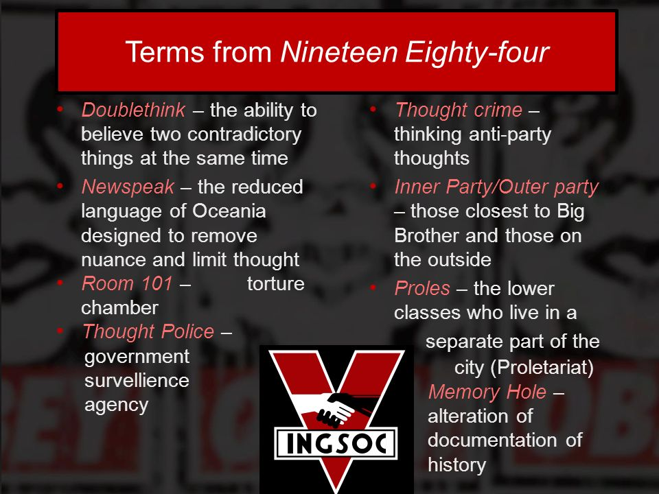 1984 doublethink essay The use of these stereotypes contradict the message of the overall essay, hence her doublethink another method of thought control in 1984 was doublethink.