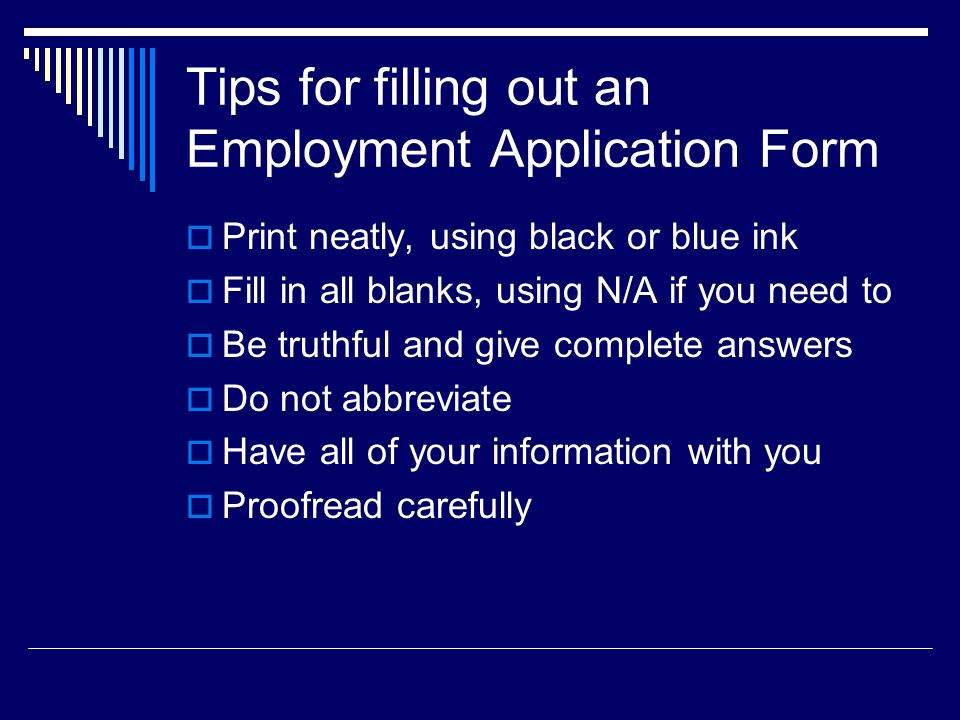 tips for completing application forms