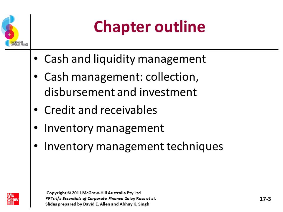 3 chapter outline cash and liquidity management cash management collection disbursement and investment credit and receivables inventory management - Cash Management Skills