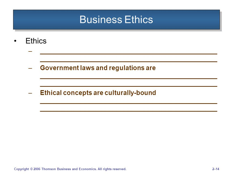 2–14Copyright © 2006 Thomson Business and Economics.
