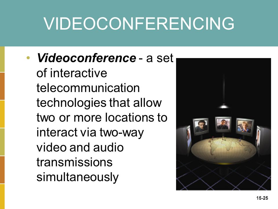 15-25 VIDEOCONFERENCING Videoconference - a set of interactive telecommunication technologies that allow two or more locations to interact via two-way video and audio transmissions simultaneously