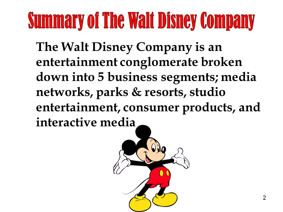 the walt disney company entertainment king essay Walt disney case study please answer each question using the essay format be sure your answer is well support with concepts from.