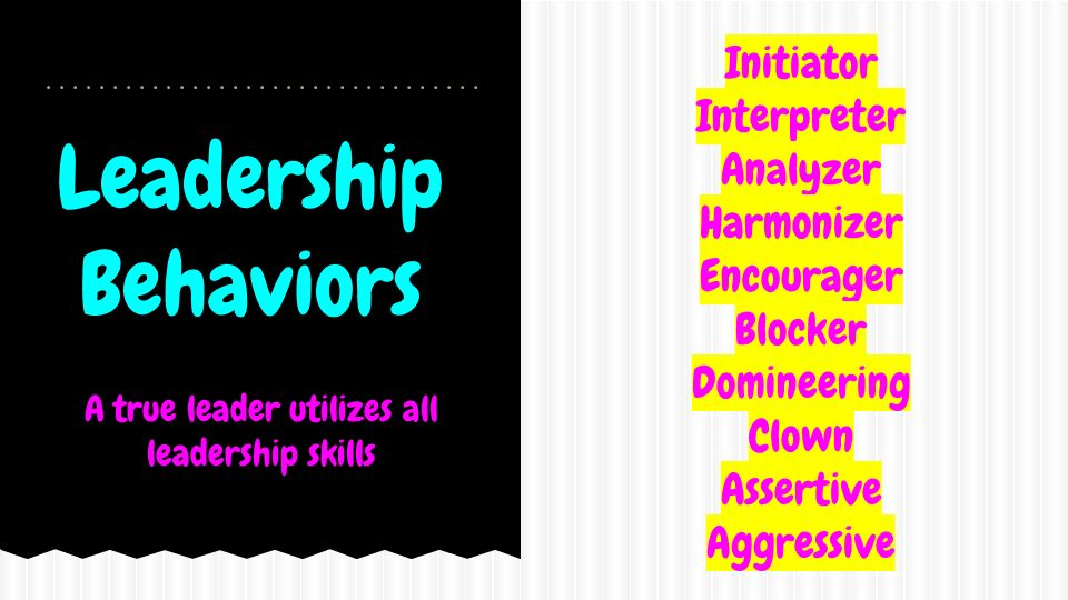 Leadership Behaviors Initiator Interpreter Analyzer Harmonizer Encourager Blocker Domineering Clown Assertive Aggressive A true leader utilizes all leadership skills