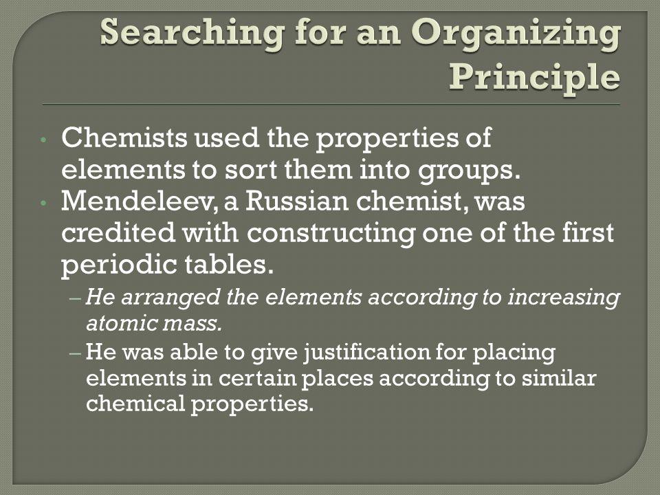 4 chemists - Periodic Table Arrangement Activity