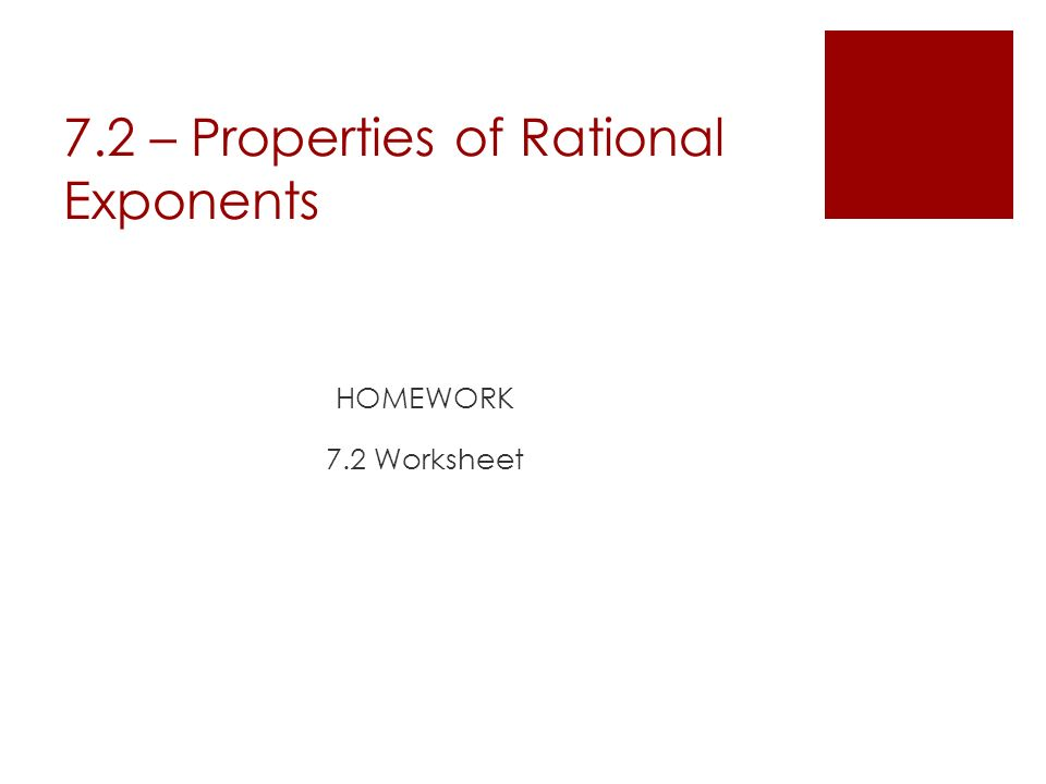 Chapter 7 Powers Roots and Radicals 72 Properties of – Rational Exponents Worksheet