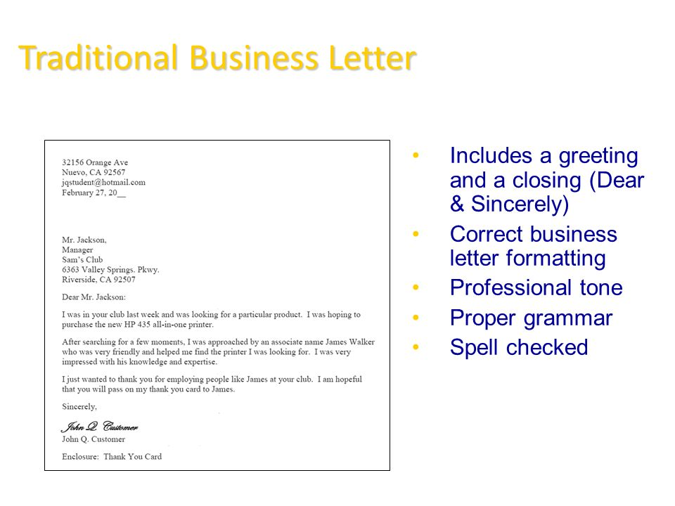 traditional letter layout