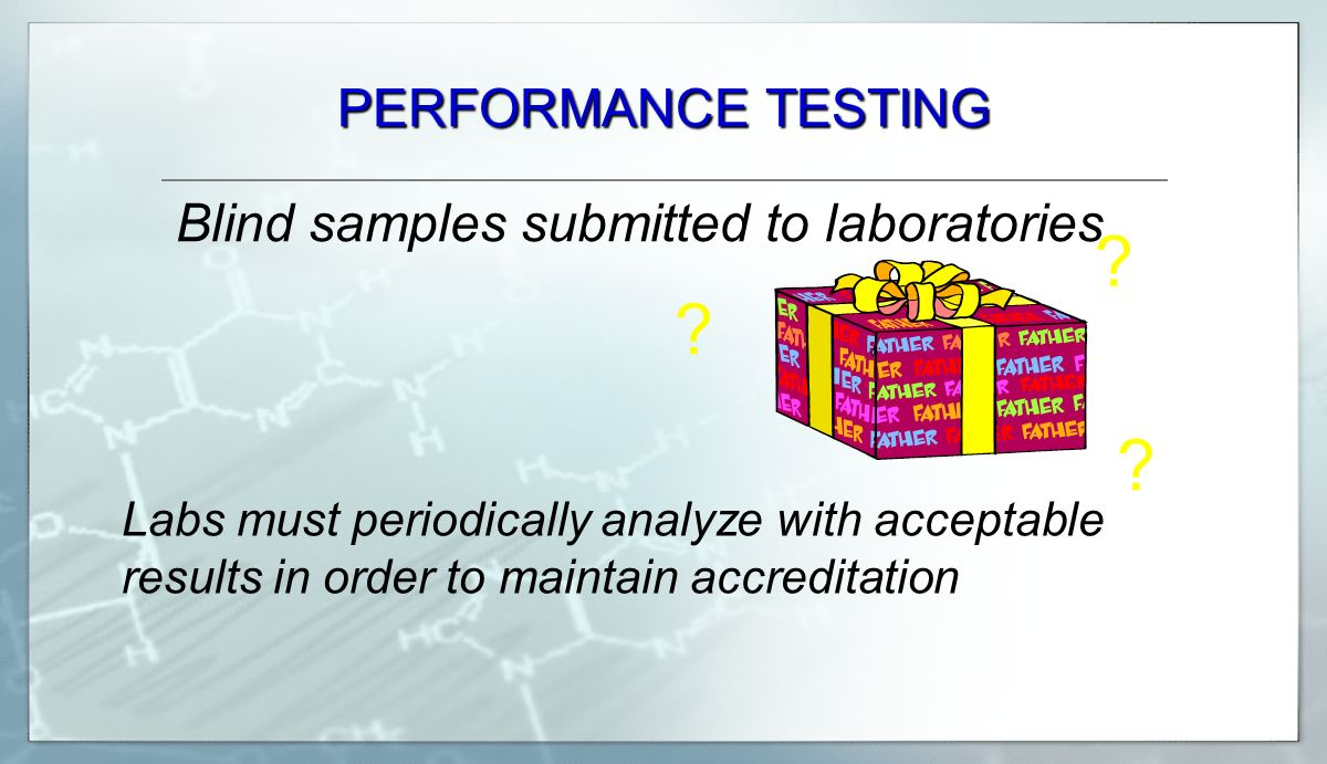 PERFORMANCE TESTING Blind samples submitted to laboratories .