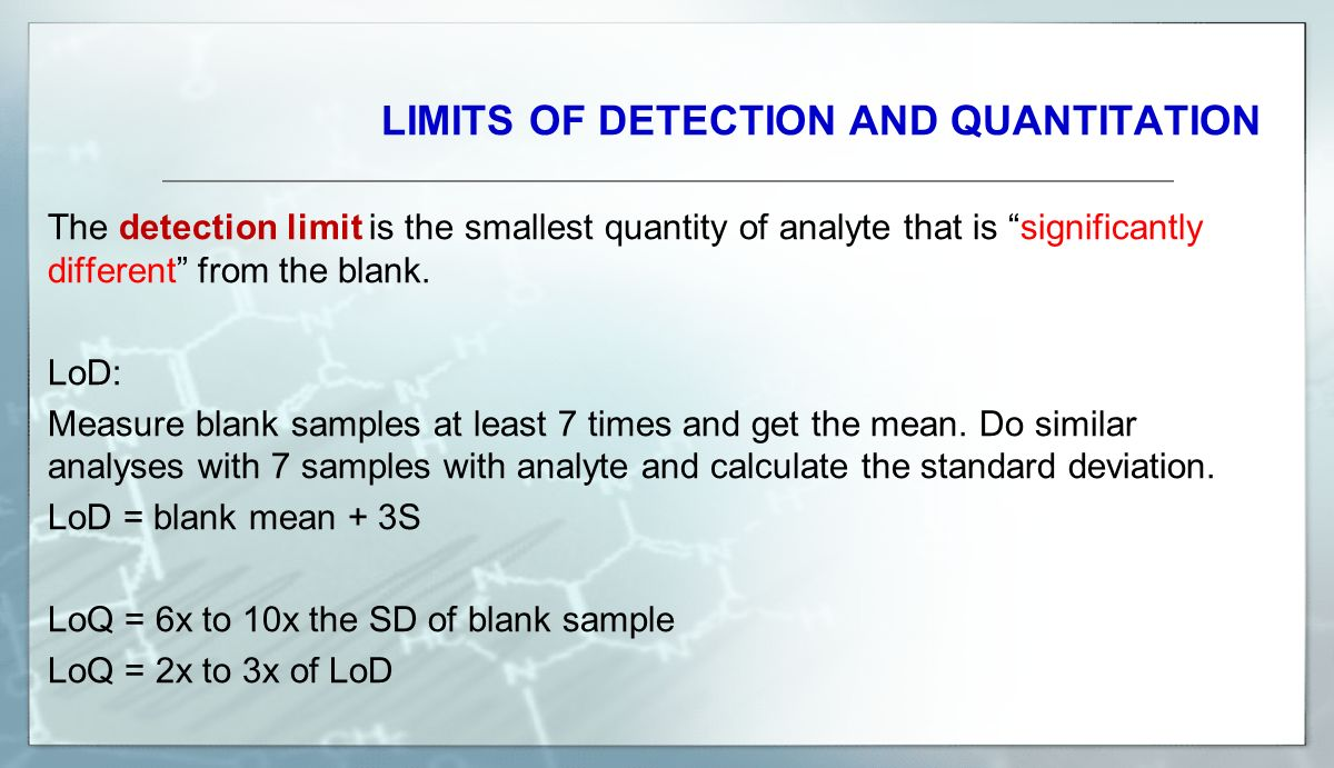 LIMITS OF DETECTION AND QUANTITATION The detection limit is the smallest quantity of analyte that is significantly different from the blank.