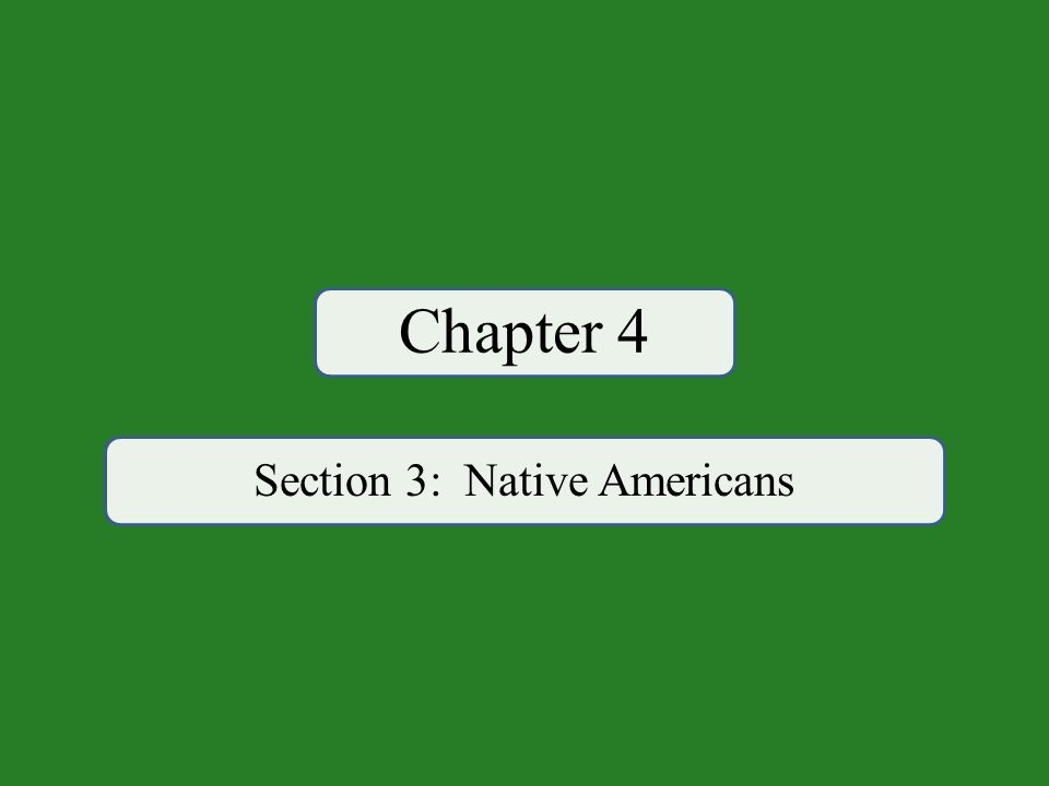 Chapter 4 Section 3: Native Americans
