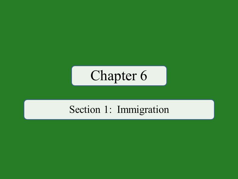 Chapter 6 Section 1: Immigration
