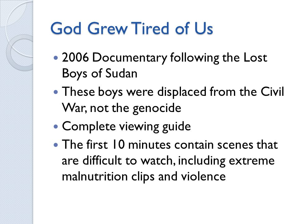 a report on the presentation and discussion with the lost boys of sudan