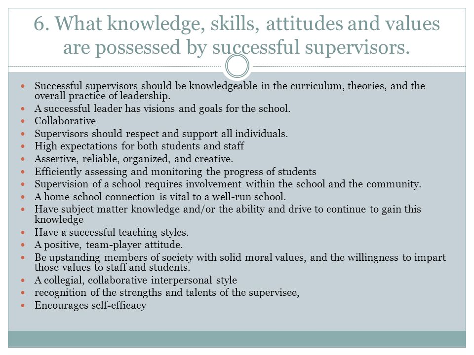6. What knowledge, skills, attitudes and values are possessed by successful supervisors.