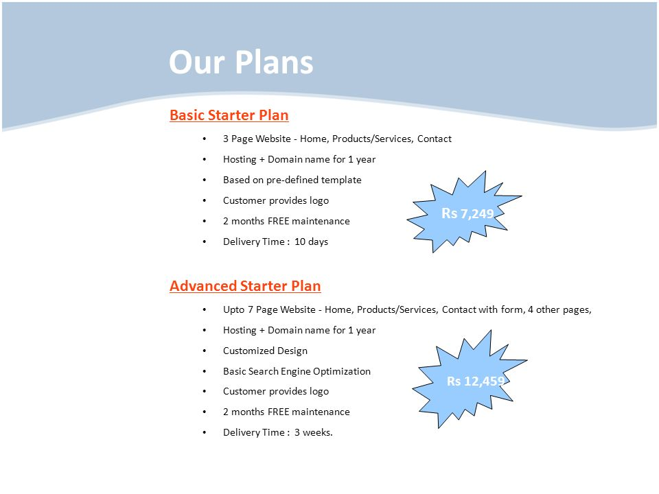 Our Plans Basic Starter Plan 3 Page Website - Home, Products/Services, Contact Hosting + Domain name for 1 year Based on pre-defined template Customer provides logo 2 months FREE maintenance Delivery Time : 10 days Advanced Starter Plan Upto 7 Page Website - Home, Products/Services, Contact with form, 4 other pages, Hosting + Domain name for 1 year Customized Design Basic Search Engine Optimization Customer provides logo 2 months FREE maintenance Delivery Time : 3 weeks.