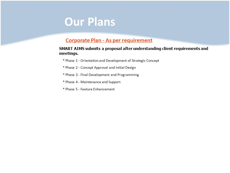 Our Plans Corporate Plan - As per requirement SMART AIMS submits a proposal after understanding client requirements and meetings.