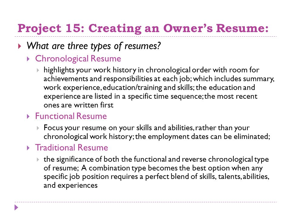 Three ...  Three Types Of Resumes
