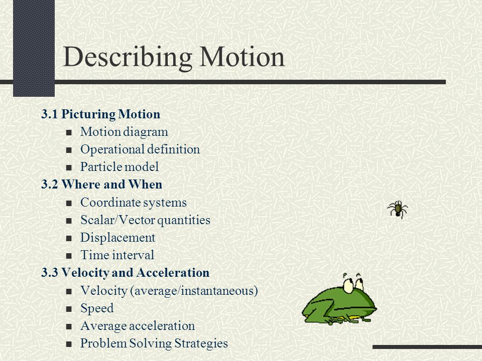 Physics chapter 3 describing motion 31 picturing motion motion 2 31 picturing motion motion diagram operational definition ccuart Gallery
