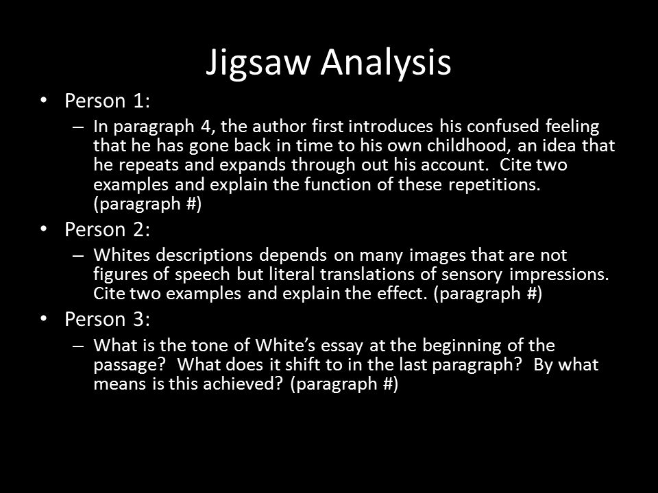 his person analysis How to write a rhetorical analysis when you're writing your analysis, use the third-person to appear objective as opposed to using i or we also.