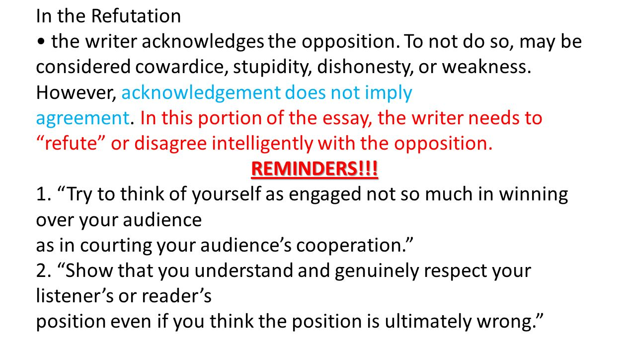 refute essay Essay writing practice for gre korean an essay on man epistle 1 sparknotes scarlet letter liam: december 4, 2017 one of the white kids in wdmr ties in kinda well to.
