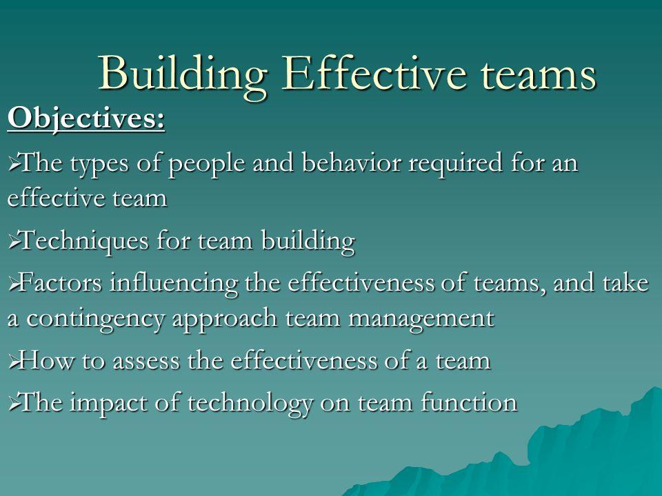 factors that lead to effective team work Success factors in team building success factors in team building success factors for teams there are many factors that ensure a team's success or failure.