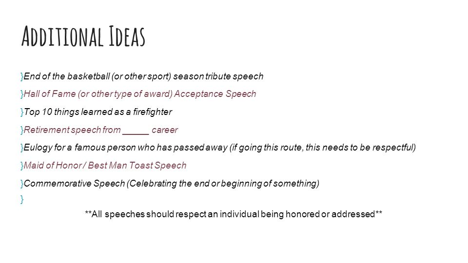 Final Speech Speaking To Entertain Final Speech Requirements