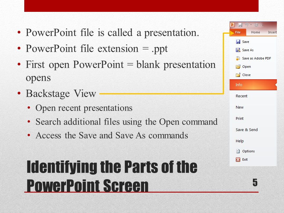 Lesson 21 1 getting started with powerpoint essentials ppt download identifying the parts of the powerpoint screen powerpoint file is called a presentation toneelgroepblik Image collections