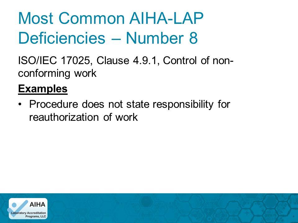 Most Common Deficiencies Cheryl O Morton Managing Director AIHA - Non responsibility clause