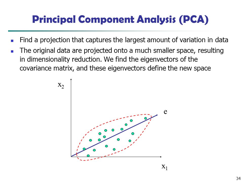 34 x2x2 x1x1 e Principal Component Analysis (PCA) Find a projection that captures the largest amount of variation in data The original data are projected onto a much smaller space, resulting in dimensionality reduction.
