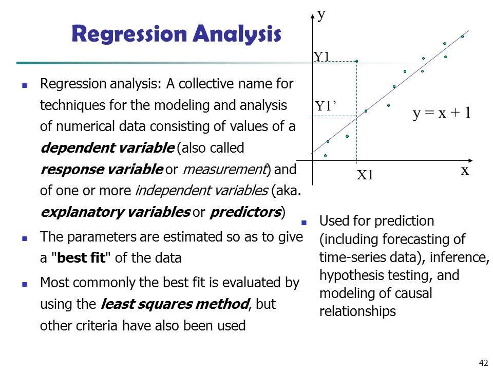 42 Regression Analysis Regression analysis: A collective name for techniques for the modeling and analysis of numerical data consisting of values of a dependent variable (also called response variable or measurement) and of one or more independent variables (aka.
