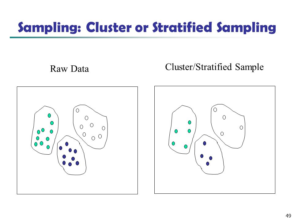49 Sampling: Cluster or Stratified Sampling Raw Data Cluster/Stratified Sample